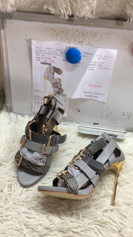 Trendy Designer Soft PU Leather Metal Heeled Sandals Woman Snakeskin Matched Buckles Decoration Stiletto Heels Dress Shoes - 5