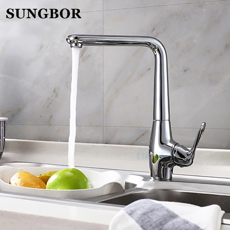 Modern Style Brass Solid Kitchen Faucet Cold and Hot Water Mixer Right angle Design 360 Degree