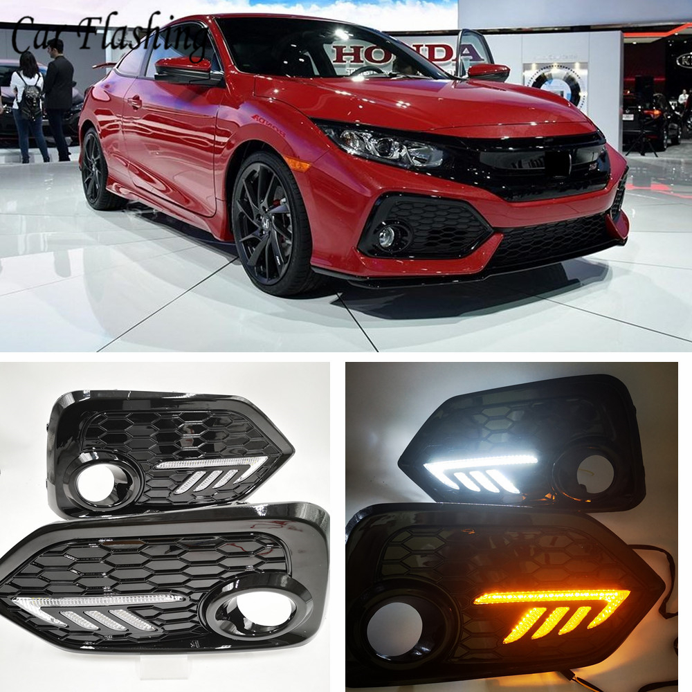 1Set For Honda CIVIC Hatchback 2016 2017 2018 2019 Daytime Running Light LED DRL Fog Lamp Driving Lights Yellow Turn Signal Lamp