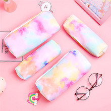 1pcs Colorful  Pencil Case Pink Make UP Bag Leather Pencilcase School Supplies Stationery