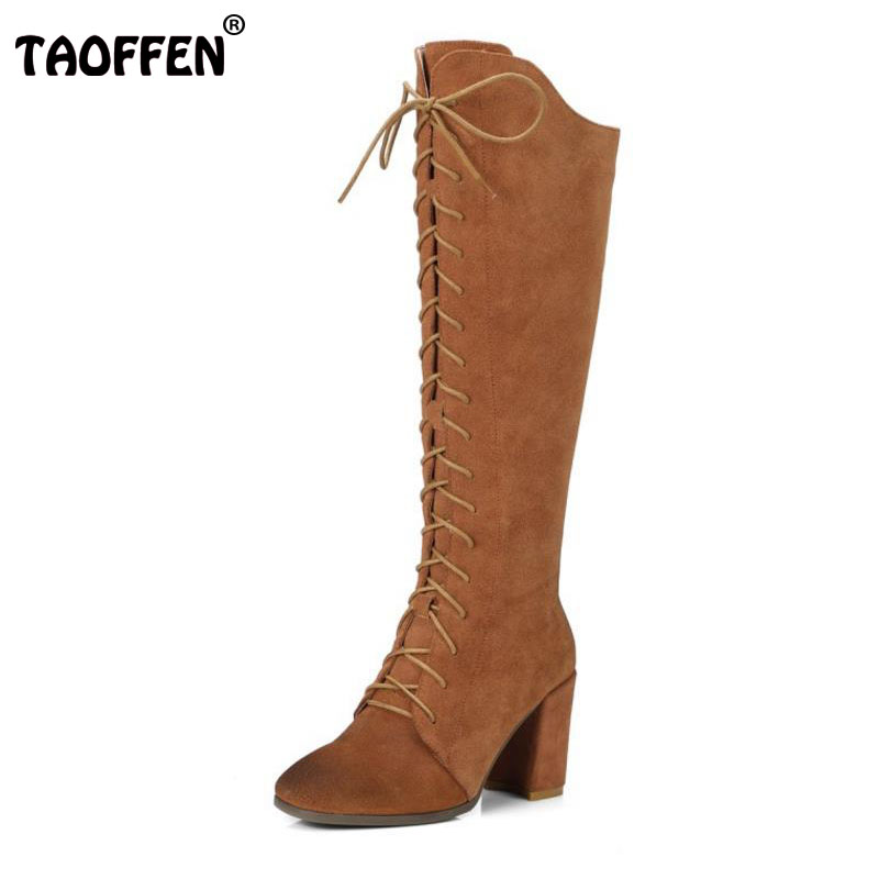 TAOFFEN Size 34-41 Gladiator Winter Shoes Women  Real Leather Thick Heel Knee High Winter Boots Women Cross Strap Warm Botas handmade high quality 2017 summer new knee high boots gladiator women sandals boot real leather flats casual shoes black size 41