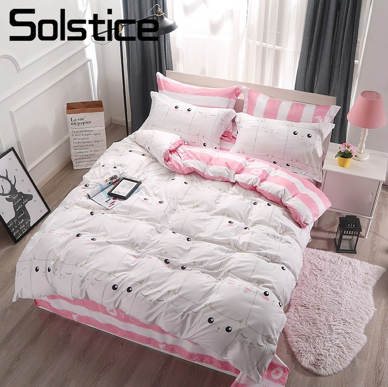 Solstice Home Textile Twin Full Bedding Set White Pink Cat Kitty Cute Duvet Cover Pillowcase Flat Sheet Girl Kid Teen Bed Linens