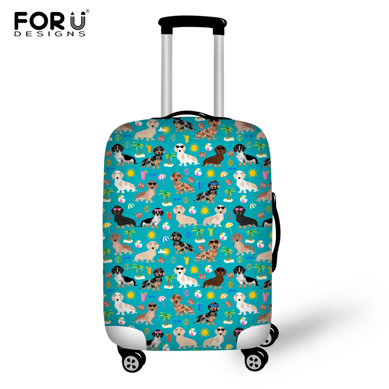 FORUDESIGNS Dachshund Dog Suitcase Cover For 18-28 Inch Trolley Dustproof Cartoon Case Cover Cute Cat Baggage Travel Accessories