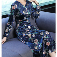 2018 Women plus size large 4xl big velvet dress winter clothes party long maxi dresses robe China retro elegant print navy blue