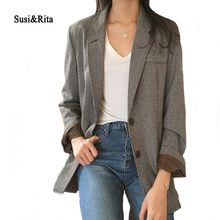 Susi&Rita Autumn Casual Blazer Women 2017 Plaid Ladies Blazers Outwear Winter Single Breasted Coats Jackets Blaser Femenino