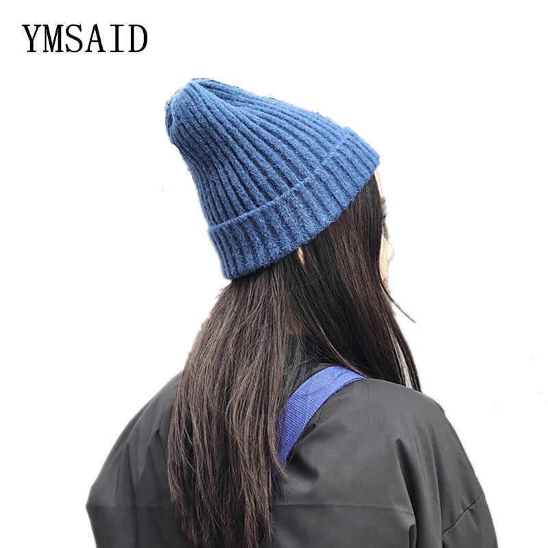 Ymsay المرأة الصلبة ColorFor الخريف الشتاء محبوك قبعات مماشية للموضة 2017 جديد وصول قبعات عادية نوعية جيدة العقص قبعة الإناث