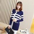 Осенние модели Девушки длинный абзац Корейской версии культивирования с длинными рукавами куртка езды полосатый джемпер свитер толстый свитер
