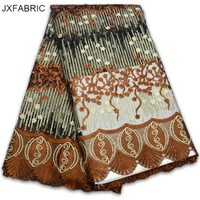 JXFABRIC High Quality African Tulle Lace Fabric Plain Color Embroidered Tulle Fabric 2017 New Arrival African Lace Fabric Hot