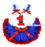 Bebê branco Pettitop 1º papai noel do aniversário do número azul Royal Ruffles & Red Bows azul Royal Red Newborn Pettiskirt MANN97