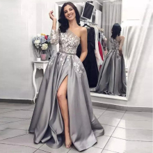Verngo Grey Satin Evening Dresses With Appliques One-Shoulder Formal Dress Long Fashion Gown