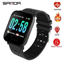 SANDA A6 Blood Pressure Smart Bracelet Large Color Screen Fitness Tracker Step Counter Activity Monitor Smart Watch For Sport