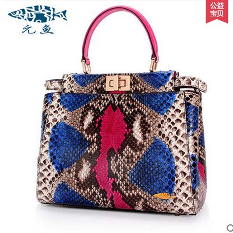 yuanyu new 2016 women bag import real python leather single shoulder bag fashion  large capacity Snake leather  women handbag yuanyu real snake skin women bag new decorative pattern women chain bag fashion inclined single shoulder women bag