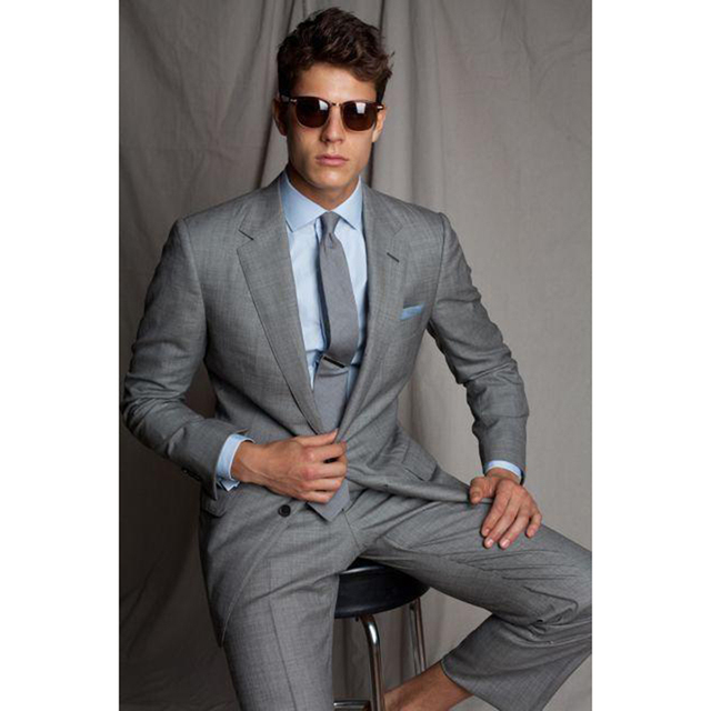 Gentleman Groom Tuxedos 2017 Slim Fit mens suits Notch Lapel Gray ...