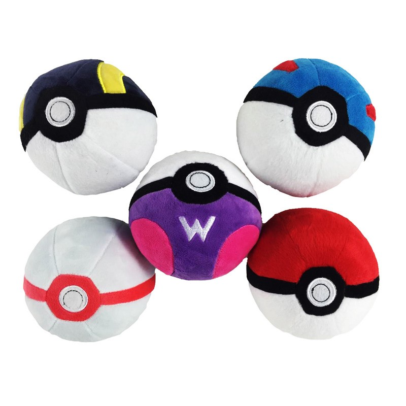 Anime 5PCS/Set Great Ball Ultra Ball Master Ball Premier Ball Plush Pendant With Keychains Cute Peluche Stuffed Dolls 12.5CM