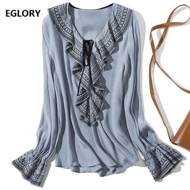 Runway Blouse 2019 Spring Summer High Quality Tops Blouse Women V-Neck Vintage Embroidery Flare Sleeve Ruffle Blouse Black Blue