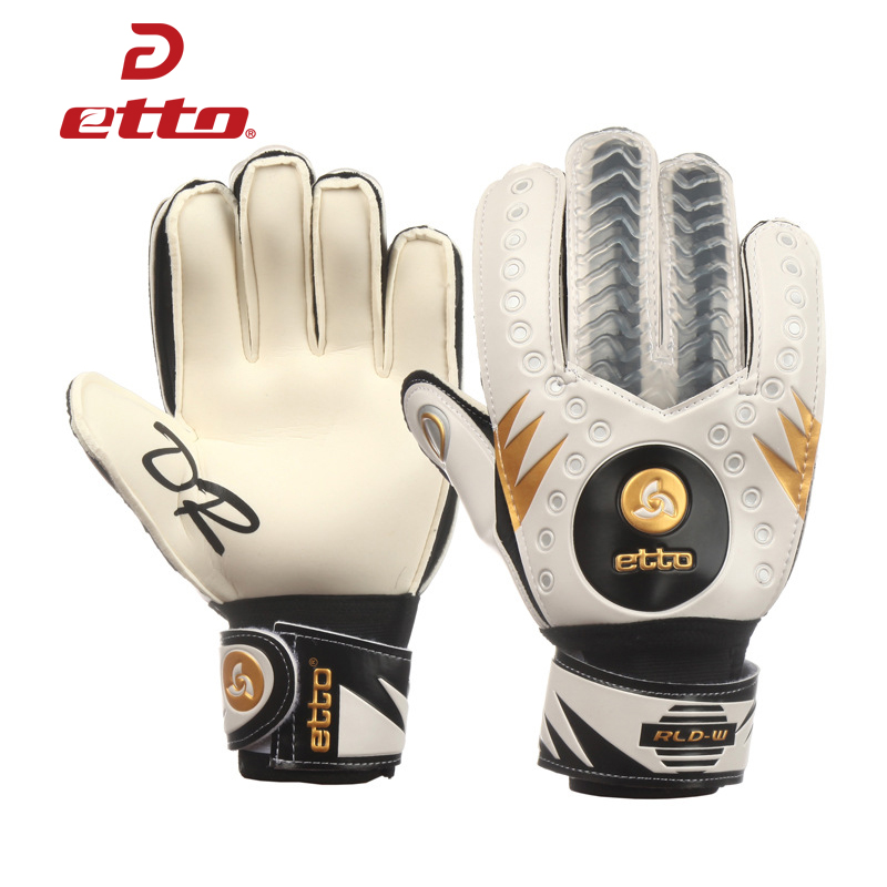 Etto Men Professional Soccer Goalkeeper Gloves Finger Protection Palm Thickened Latex Sponge Football Goalie Gloves PU