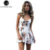 Lily Rosie Girl Women 2017 Hollow Out Print Deep V Neck Bohemian Playsuits White Off The