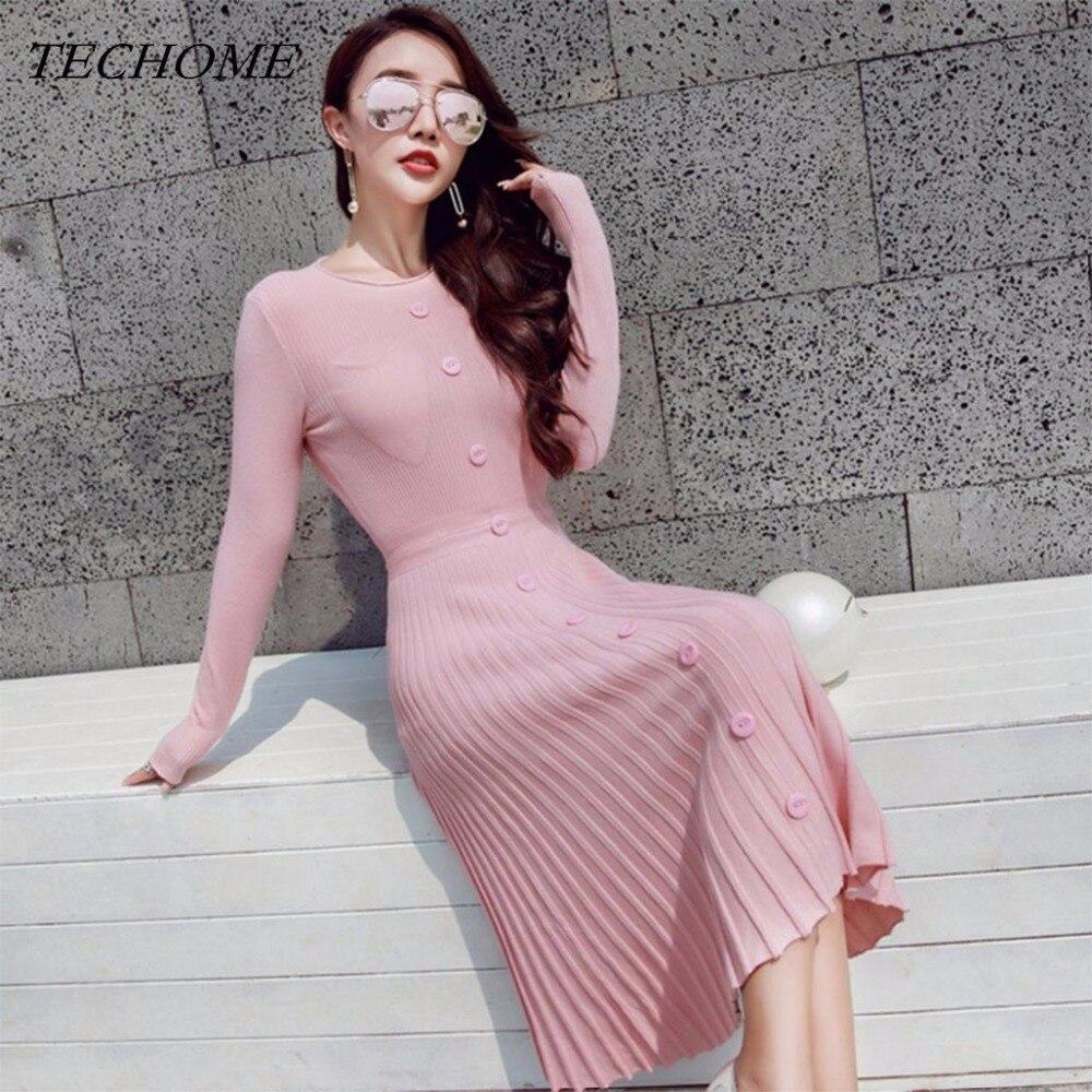2018 Spring Fashion Knitted Sweater Dress High Waist Dress Sweet Pink Black Apricot Pleated Midi-Calf Dress Casual Empire Dress
