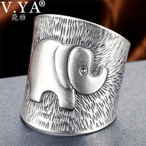 Image 1 - V.YA Solid 990 Sterling Silver Elephant Rings for Women Men Retro Animal Open Ring Womens Fashion Jewelry High Quality