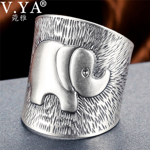 V.YA Solid 990 Sterling Silver Elephant Rings for Women Men Retro Animal Open Ring Womens Fashion Jewelry High Quality