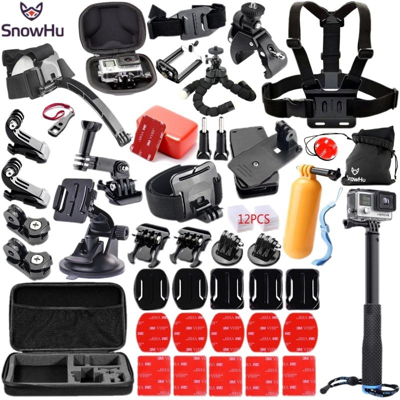Galleria fotografica SnowHu For Gopro Accessories Set Helmet Chest Mount Strap for Go pro Hero 5 4 3 3+ accessories xiaomi yi camera EKEN H9 H9R GS18