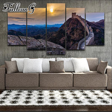 FULLCANG 5 panel diy diamond painting sunrise, great wall, scenery full square/round drill 5d embroidery mazayka FC916
