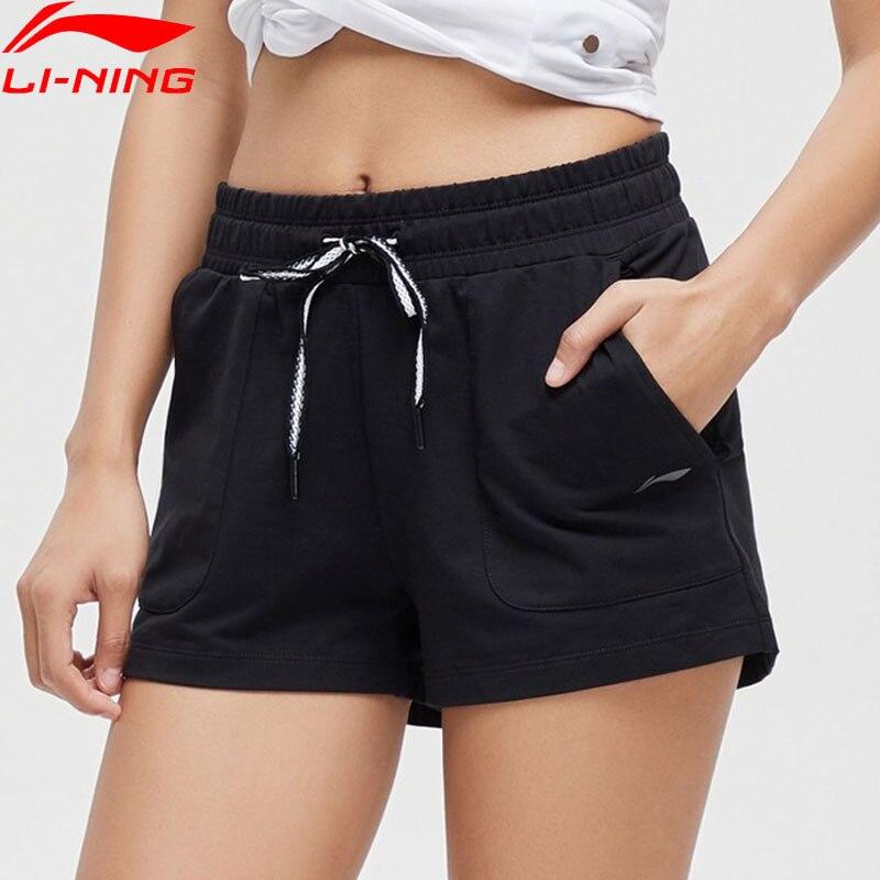 Li-Ning Women Training Shorts 82%Cotton 15%Polyester 3%Spandex Breathable Comfort Li Ning LiNing Sports Shorts AKSP056 WKD610