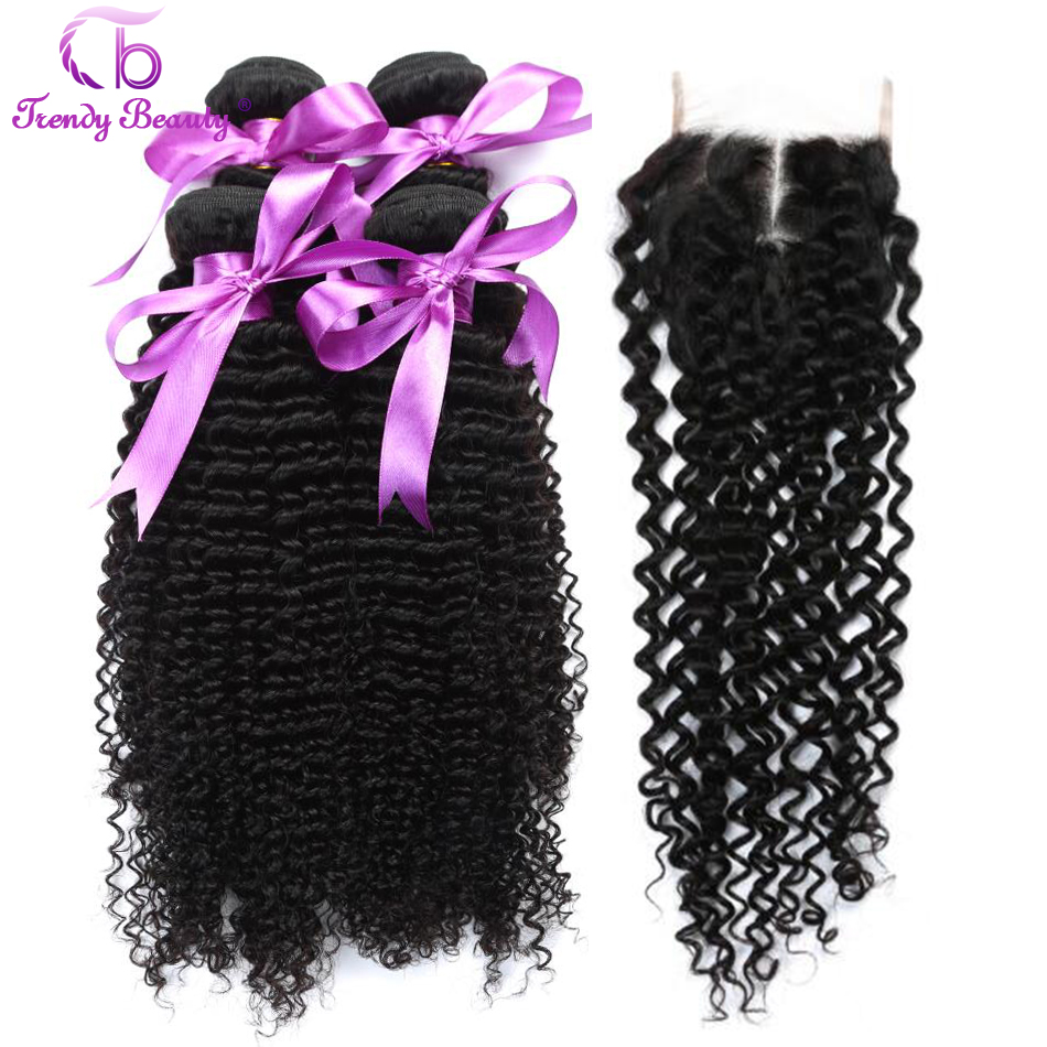 Trendy Beauty Afro Brazilian Kinky Curly Human Hair 4 Bundles With Closure Non-Remy Hair Weave With Natural Black Color 5Pcs/Lot