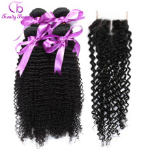 Trendy Beauty Afro Brazilian Kinky Curly Human hair 4 Bundles with Closure Non-Remy Hair Weave with Natural Black Color 5Pcs/Lot(China)