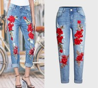Summer Red Rose Embroidered Jeans For Women High Elastic Ripped Jeans Boyfriend Denim Pants