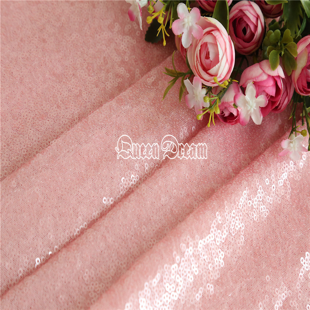 4 Yards High Quality Sparkly Embrodiery Mesh 3mm Sequin Fabric Pink
