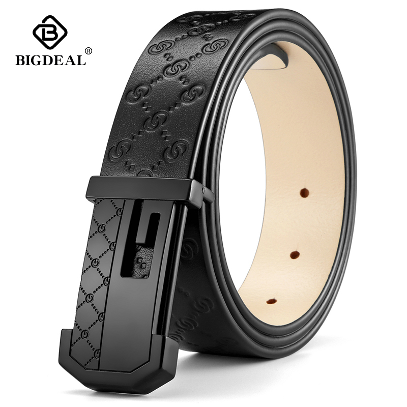 BIGDEAL 2018 QUALITY Cow Genuine Luxury Leather Men Belts For Men Strap Male Pin Buckle BIG SIZE 100-130cm 3.4 Width