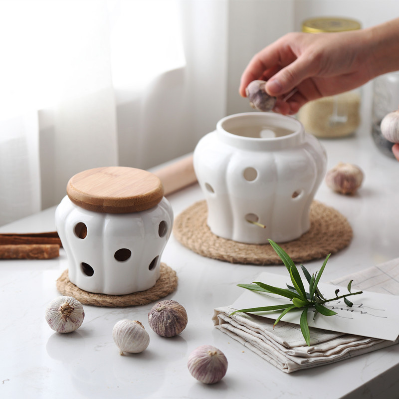 Ginger Ceramics Round Containers with Bamboo Lids for Ginger Sealing Kitchen