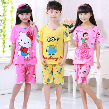Children's pajamas set summer short sleeved boy pyjamas girls cute cartoon home cloth big children's sleepwear set kids pajamas Sleepwear & Robes