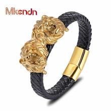MKENDN 2019New Punk Stainless Steel Gold Lion Genuine Leather Bracelet Men Women Charm Bracelets Bangles Luxury Jewelry Pulseras цена