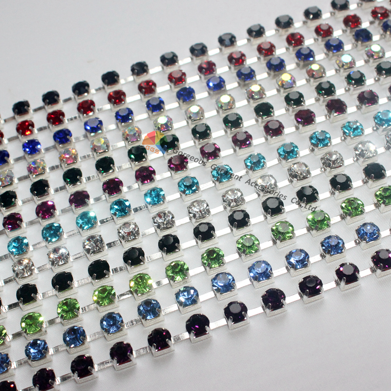 10yards SS28 6mm Crystal Rhinestone Cup Chain AB Aquamarin Red Royal Navy  Emerald Peridot Black Trim in Silver for DIY Accessory 5abbea977715