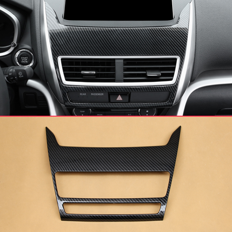 Carbon Fiber Look Overlay For 2018 2019 Mitsubishi Eclipse Cross Interior Cover Car Front Middle Multimedia Panel Air Vent Trims