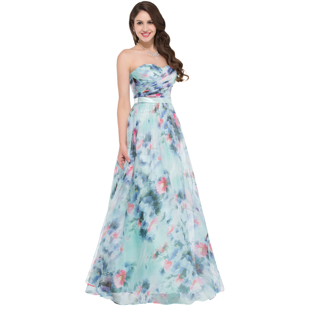 a59827e51b1902 Grace Karin Evening Dress Flower Pattern Floral Print Evening Gowns  Sweetheart Long Ruched Formal Dress Maxi Beach Party Gown-in Evening Dresses  from ...