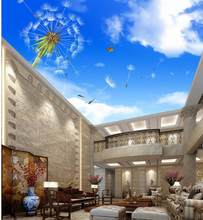 wallpaper 3d mural Blue cloud dandelion ceiling Custom photo wallpaper 3D stereoscopic Wall Decoration(China)