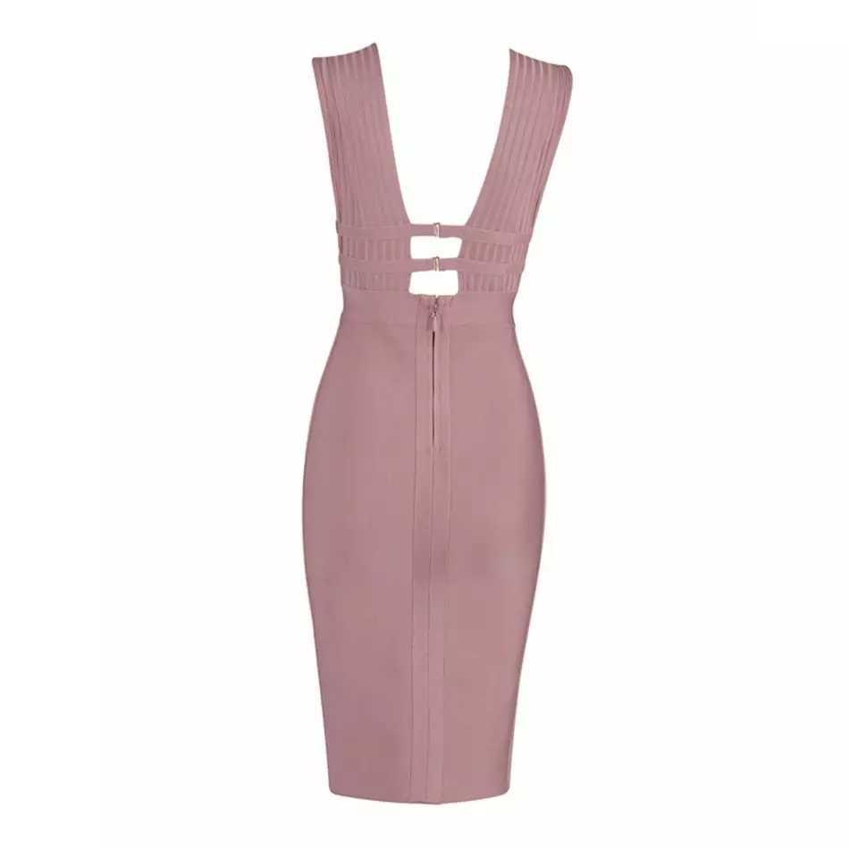 Модные женские бандажные платья новое поступление элегантные облегающие Сексуальные вечерние платья с v-образным вырезом Женская Клубная одежда 2019 Новинка