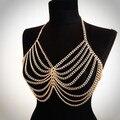 2016 Exagerada cadena de cuerpo sexy para las mujeres cadena de la borla de múltiples capas sujetador bikini cadena del arnés del collar de oro/plata de la joyería del cuerpo