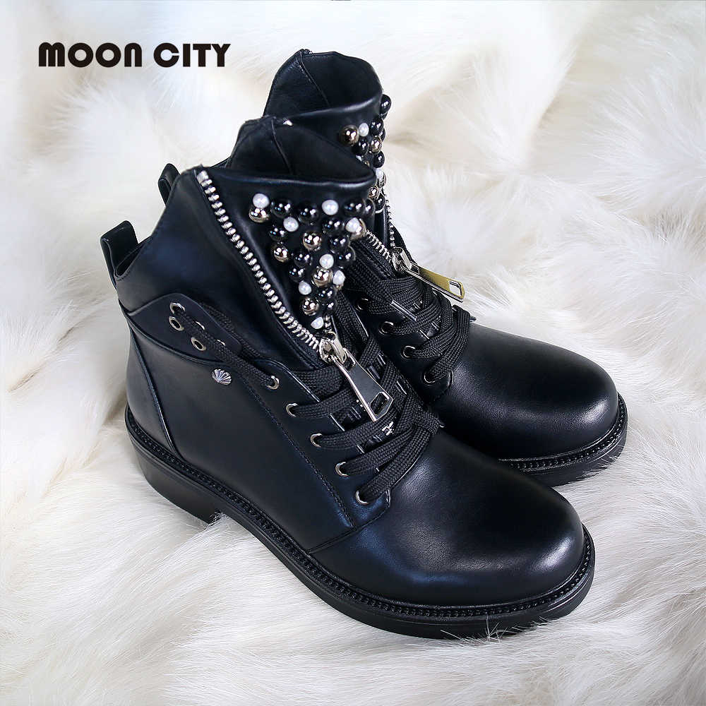 2019 women ankle boots flat leather Fall boots women's pearl round head short boots for women Martin boot wedge motorcycle boots