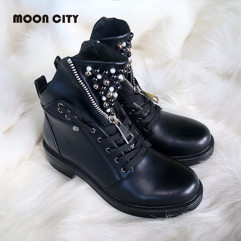 2019 women Fall boots flat leather boots women's pearl round head short boots for women Martin boots wedge motorcycle boots-in Ankle Boots from Shoes