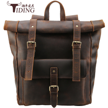 Men Genuine Leather Large 17 Laptop Designer Travel  Backpack Bags Crazy Horse Brand Casual Bagpack Backpacks