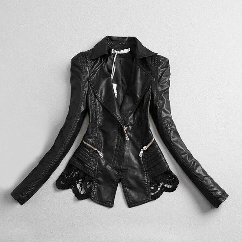 Brand Black   Leather   Jacket Coat For Women Spring Autumn Plus Size Slim Fit Black Lace Female Fashion Zipper Faux PU   Leather   Top