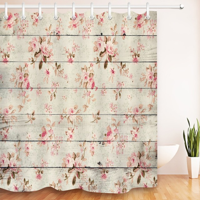 Lb 180 Waterproof Pink Flower On Rustic Wood Panel Shower Curtain Vintage Bathroom Curtains