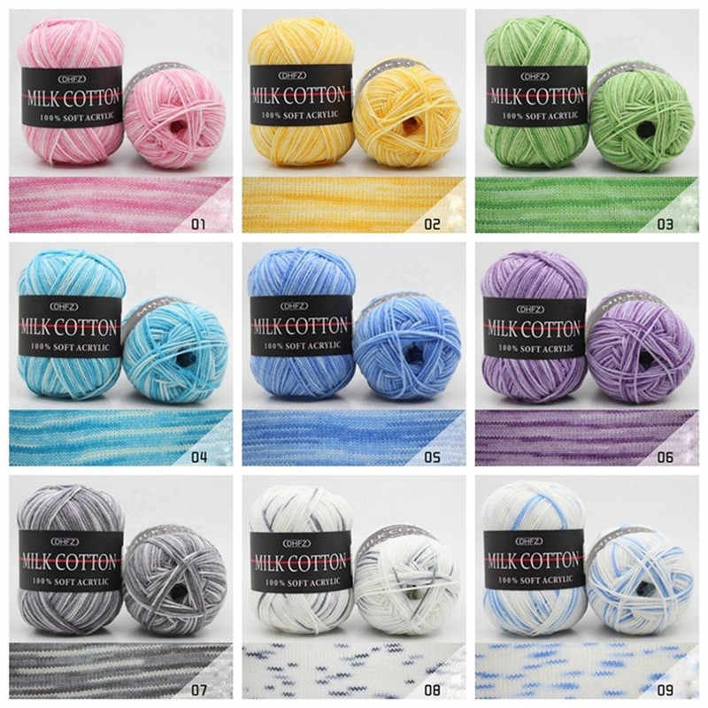 23Colors 50g Double Knitting Crochet Milk Soft Baby Cotton Wool Yarn Hand Knitted Yarn DIY Craft Knit Sweater Scarf Hat