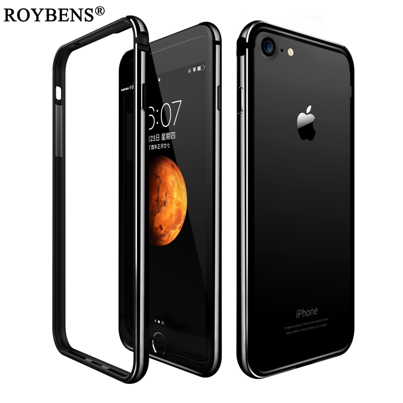 Roybens For iPhone 7 iPhone 7 Plus Case Fashion Luxury Hybrid Aluminum TPU Silicon Frame Edge Soft Cover For Apple 7 4.7 5.5inch