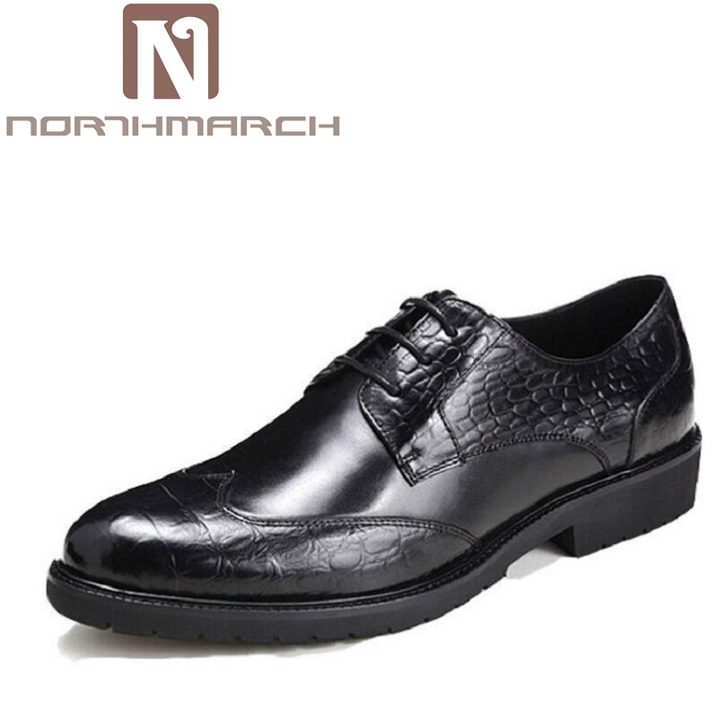 NORTHMARCH Business Pointed Toe Men Oxfords Leather Brand Black Derby Shoes Red Wine Men Dress Shoes Sapato Masculino Couro