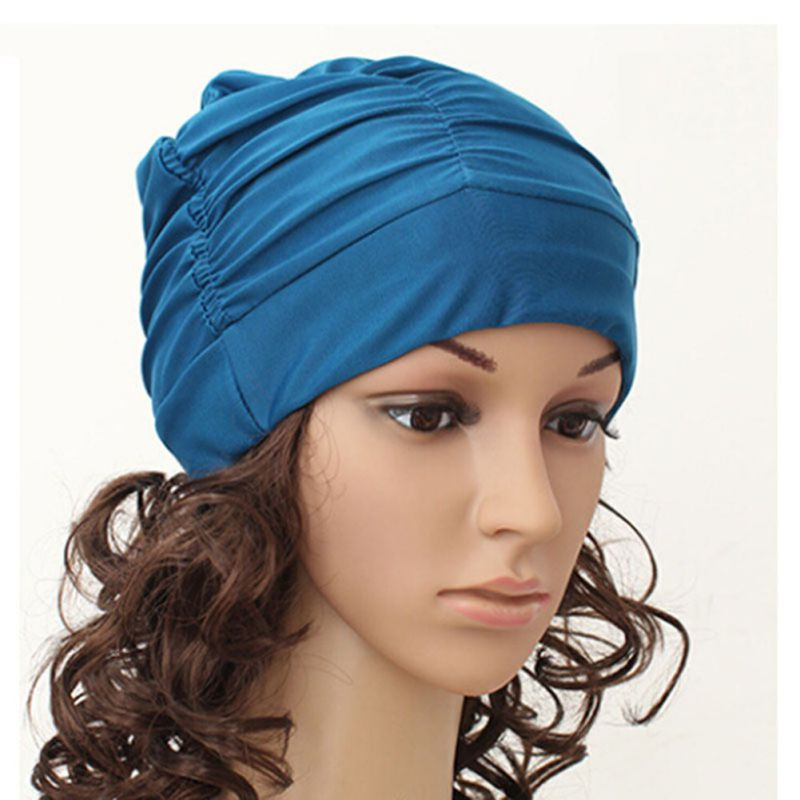 Sexy Womens Girls Drape Stretch Long Hair Swim Cap Hat Bathing Swimming Cap
